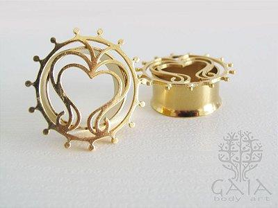 Alargador Anodizado Dourado Coração
