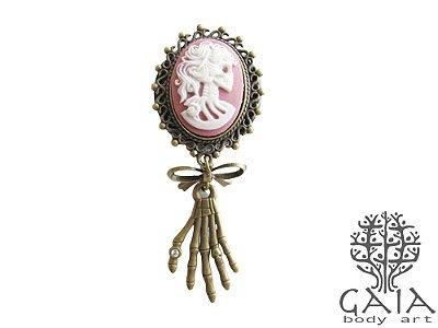 Alargador Camafeu Rosa Caveira + Laço Mão Esqueleto