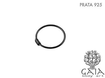 Argola Nariz Prata 925 Oxidada Spring Preta