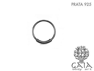 Argola Prata 925 Preta Minimalist