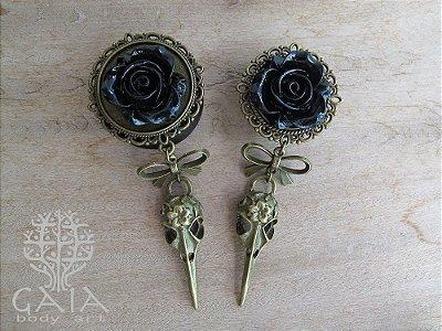 Alargador Rosa Negra + Bird Skull Bronze