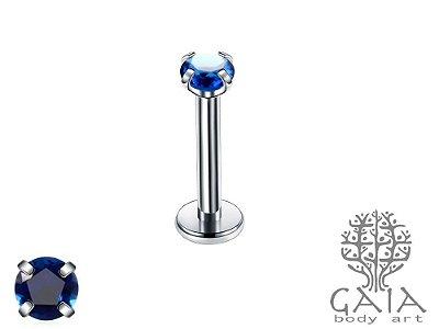 Labret Garras Zircônia Redonda Azul Royal