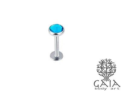 Labret Top Zircônia Azul Claro