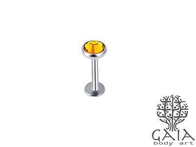 Labret Top Zircônia Amarela