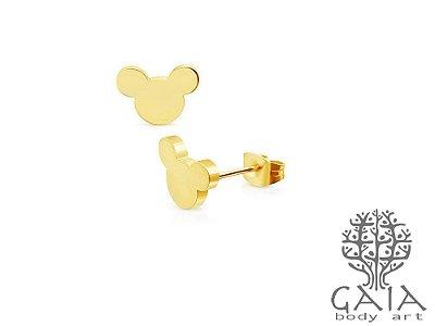 Brincos Mickey Dourado [o par]
