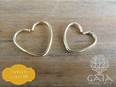 Piercing Clip Coração Aço Banhado a Ouro 18k