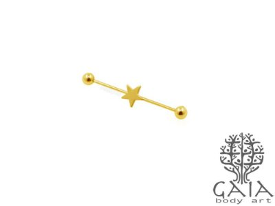 Barbell Transversal Dourado Estrela
