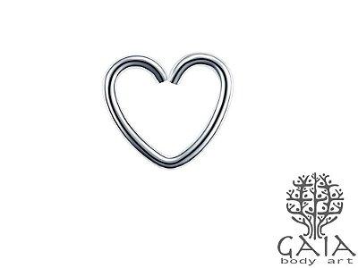 Clip Aço Cirúrgico Coração Prateado