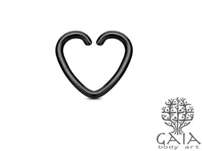Piercing Clip Coração Preto