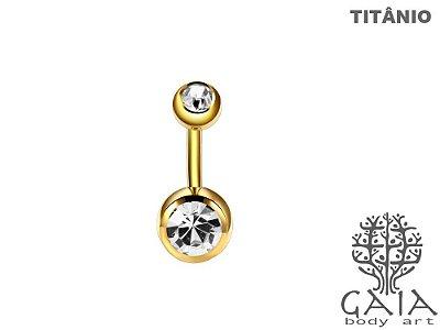 Barbell Umbigo Titânio Dourado Zircônias