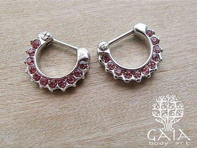 Piercing Clicker Ródio Multi Zircônias Rosa