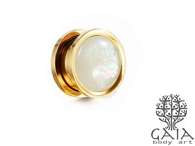 Alargador Dourado Opala Branca