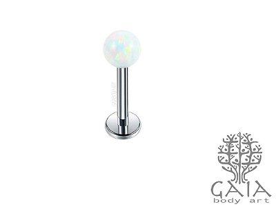 Labret Aço Esfera Opala