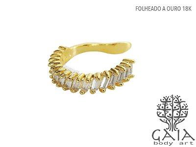 Earcuff Dourado Zircônias Amber