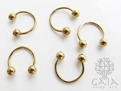 Ferradura Esferas Aço Dourado