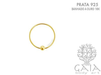 Argola Captive Prata 925 Dourada