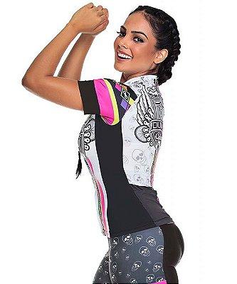 Camisa Feminina Ciclismo High Line Skull Asa Dunas