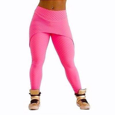 Legging Sainha Jacquard Trend Rosa Flúor