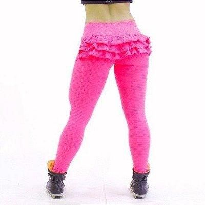 Legging Babado Jacquard Trend Rosa Flúor