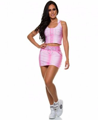Short Saia Digital Jeans Rosa
