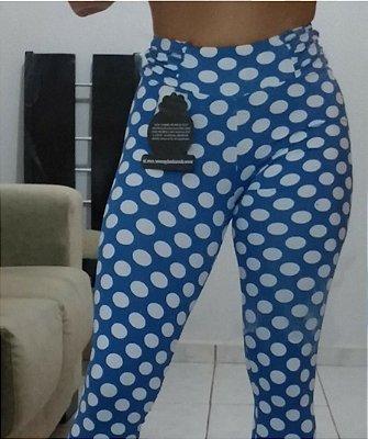Legging Cós Franzido Poá Azul