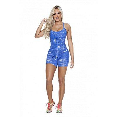 Macaquinho Jeans Azul