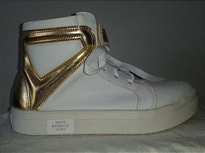 Tênis Botinha Sport Chic Branco com Dourado