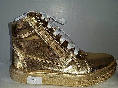 Tênis Botinha Casual Chic Dourado