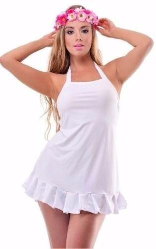 Vestido de Praia Babado Branco