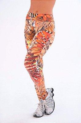 Calça Legging Laranja Estampada