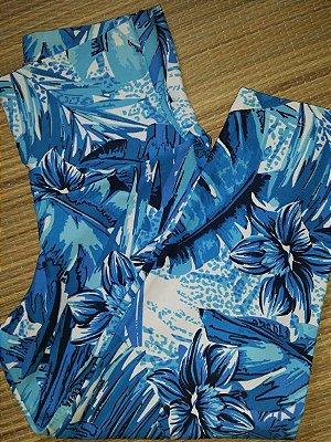 Calça Corsário Cós Alto Folhas Azul