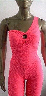 Macaquinho Um Ombro Jacquard Pink