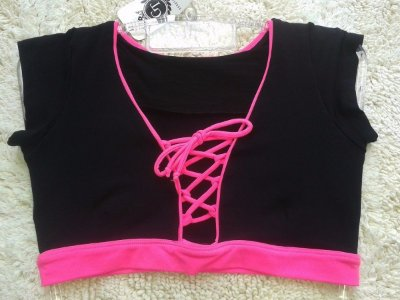 Top Cropped Cruzado Preto Rosa