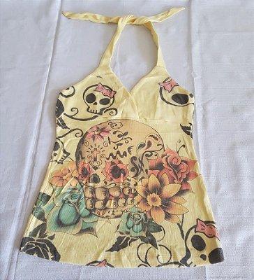 Blusinha Frente Única Amarela Skull