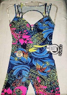 Macacão Tiras Floral Azul Marinho