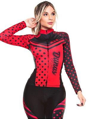 Camisa Feminina Manga Longa Poá Preta Vermelha
