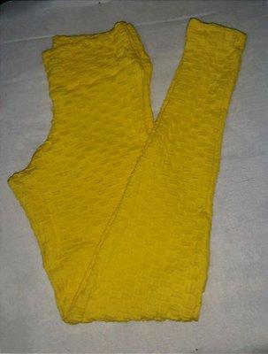 Calça Legging Jacquard Amarela (COM AVARIA)