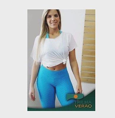 Calça Corsário Jacquard Azul (COM AVARIA)