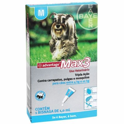 Antipulgas e Carrapatos Advantage MAX3 M para Cães de 4kg a 10kg - 1ml