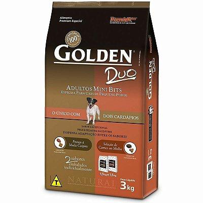 Ração Golden Duo Adulto Frango à Moda Caipira e Seleção de Carnes ao Molho Mini Bits 3kg