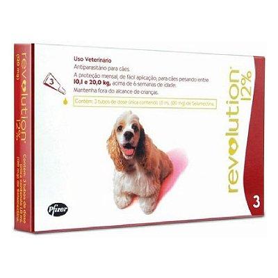 Antipulgas e Carrapatos Revolution para Cães 10,1 a 20kg  - 3 Unidades