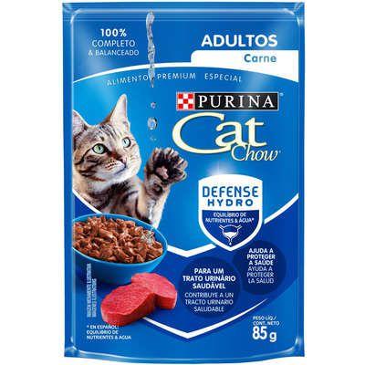 Cat Chow Sachê para Gatos Adultos sabor Carne 85g