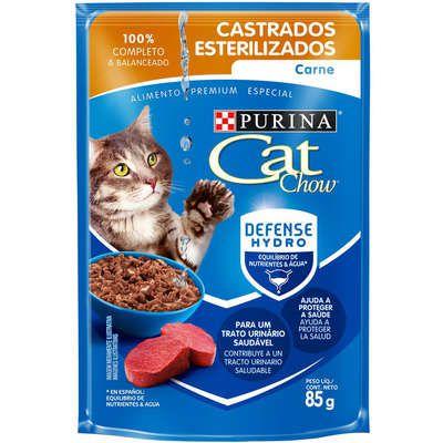 Cat Chow Sachê para Gatos Adultos Castrados sabor Carne 85g