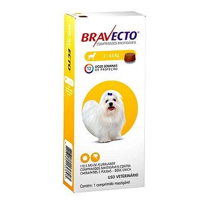 Antipulgas e Carrapatos Bravecto Comprimido para Cães de 2 a 4,5 kg