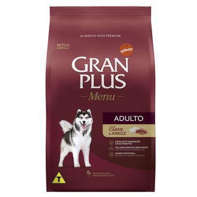 Ração Gran Plus Menu para Cães Adultos Carne e Arroz 20kg