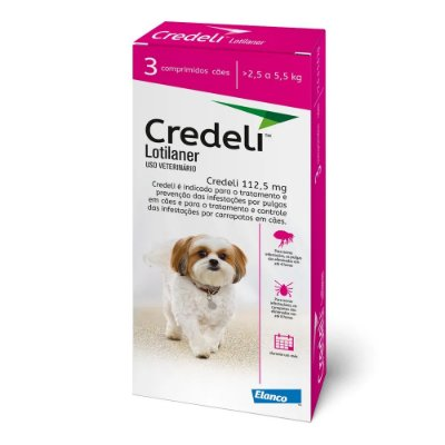 Antipulgas e Carrapatos Credeli Comprimido para Cães de 2,5 a 5,5kg - 3 comprimidos