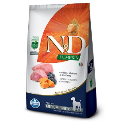 Ração para Cães Adultos Farmina N&D Pumpkin Raças Médias Cordeiro