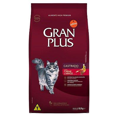 Ração para Gatos Adultos Gran Plus Castrados Carne e Arroz