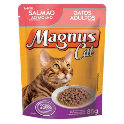 Ração Úmida para Gatos Adultos Magnus Sache Salmão ao Molho 85g