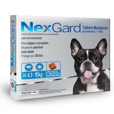 Anti Pulgas e Carrapatos Merial Nexgard 28,3 mg para Cães de 4,1 a 10kg - 3 unidades